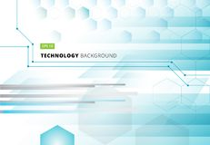 Abstract technology geometric digital blue hexagons concept back Royalty Free Stock Photos