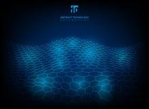 Abstract technology hexagon pattern shining glow futuristic digi. Tal background. Vector illustration Royalty Free Stock Photos