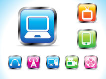 Abstract technology icon with button Royalty Free Stock Photo
