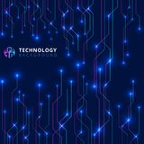 Abstract technology lines with lighting glow futuristic on dark. Blue background. Vector illustration Stock Photos