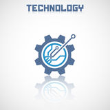 Abstract technology logo with reflect. Royalty Free Stock Photos