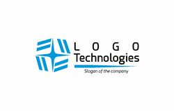 Abstract technology logo. An abstract logo that represents an electrical spark with tiles that form four E letters. Can be customized and used in consumer Royalty Free Stock Photos