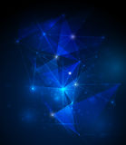 Abstract technology Molecules with  polygon blue background Stock Photography