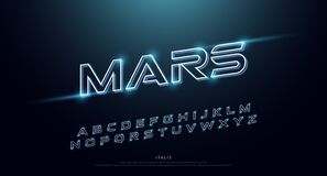 Free Abstract Technology Neon Font And Alphabet. Techno Effect Logo Designs. Typography Digital Space Concept. Vector Illustration Stock Photography - 184370562