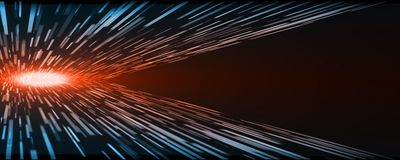 Abstract technology perspective rectangle movement warp speed with glowing nova core red light at center. And blue at edge on dark background with large copy royalty free illustration
