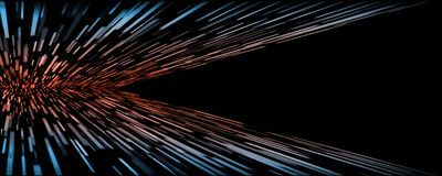 Abstract technology perspective rectangle movement warp speed with glowing red at center and blue at edge on dark background. With large copy space area for vector illustration