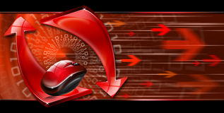 Abstract technology red arrows. Abstract background with red arrows and mouse, internet connection and flow Stock Images