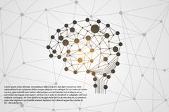 Abstract technology science concept brain digital link use for t. Emplate ,present ,web ,book on gray background vector illustration
