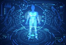 Abstract technology science concept human data health digital :. Hud interface elements of medicine analysis hands,world,power and percent vitality innovation royalty free illustration