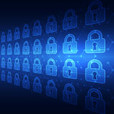 Abstract technology security on global network background, vector illustration Stock Photos