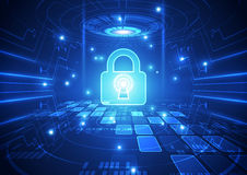 Abstract technology security on global network background, vector illustration. Innovation Stock Photo