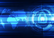 Abstract technology security on global network background, vector illustration. Innovation Royalty Free Stock Image
