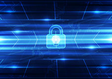 Abstract technology security on global network background, vector illustration Royalty Free Stock Image