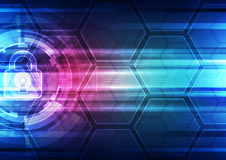 Abstract technology security on global network background, vector illustration Royalty Free Stock Images