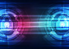 Abstract technology security on global network background, vector illustration Stock Images
