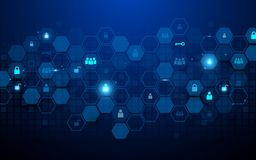 Abstract technology and Social communications icons concept. Abstract hexagons and geometric on dark blue background vector illustration