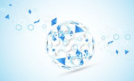 Abstract technology sphere background. Global network consept. royalty free illustration