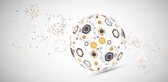 Abstract technology sphere background. Global network consept. Stock Photos