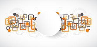 Abstract technology square background with cogwheels Stock Image