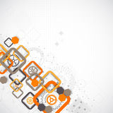Abstract technology square background with cogwheels Stock Photos
