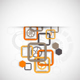 Abstract technology square background with cogwheels Royalty Free Stock Images