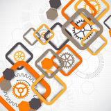 Abstract technology square background with cogwheels Stock Images