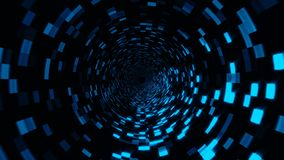 Abstract technology tunnel with shiny particles, moving in virtual space, traveling in space, 3d rendering. Background stock footage