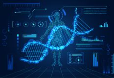 Abstract technology ui futuristic concept human digital DNA heal. Th care of hud interface hologram elements of digital data chart, communication,innovation on vector illustration