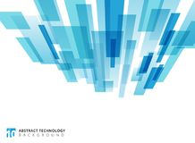 Abstract technology vertical perspective overlapped geometric sq. Uares shape blue colour on white background with copy space. Vector graphic illustration Stock Photo
