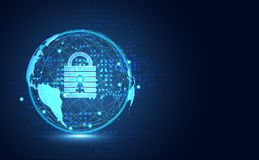 Abstract technology world cyber security privacy information net. Work concept padlock protection digital network internet link on hi tech blue future background stock illustration