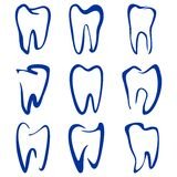 Abstract  teeth set sketch cartoon vecto Royalty Free Stock Photography