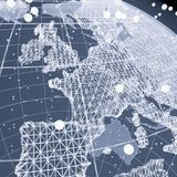 Abstract Telecommunication Earth Map. Communication network concept. 3d illustration Stock Photo