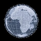 Abstract Telecommunication Earth Map. Communication network concept. 3d illustration Royalty Free Stock Photography
