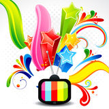 Abstract television with explode star Stock Photos