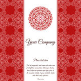 Abstract template of card. Frame pattern invitation with place for text. Lace ornament, mandala. Arabic, Islam design elements. Ve Stock Photo