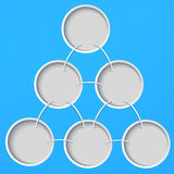 Abstract template with circles on a blue background. Perfect for web design, presentations, as a template, layout, advertising stock illustration