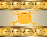Abstract template with golden spheres and padlock Stock Image