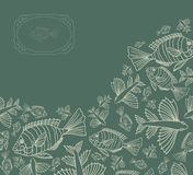 Abstract template for greeting card with fishes. Royalty Free Stock Images
