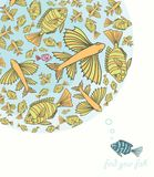 Abstract template for greeting card with fishes. Royalty Free Stock Photos