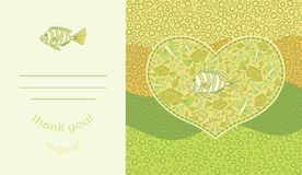 Abstract template for greeting card with fishes. Stock Photo