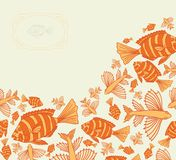 Abstract template for greeting card with fishes. Stock Photography
