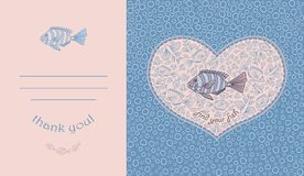 Abstract template for greeting card with fishes. Royalty Free Stock Photography