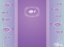 Abstract template for greeting card with fishes. Royalty Free Stock Image