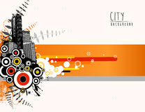 Abstract template illustration with cityscape. Stock Photos