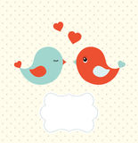 Abstract template with two cute birds and blank frame, illustration. Abstract template with two cu colorfulte birds and blank frame for your own text Stock Image