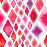 Abstract tender wonderful transparent bright red pink rhombuses different shapes pattern watercolor hand illustration. Perfect for textile, wallpapers, and Royalty Free Stock Image