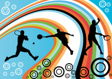 Abstract tennis background. With silhouettes of sportsmen Stock Photo