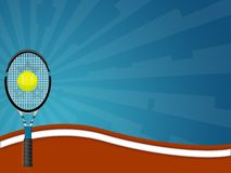 Abstract tennis background. With racket, ball, wavy clay court and blue sunburst stock illustration