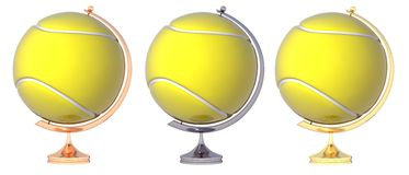 Abstract tennis ball Globe. Three prize-winning places Stock Images
