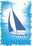 Blue yacht.Abstract sea motive.Blue background Royalty Free Stock Images
